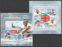 ST2785 2013 NIGER FAMOUS PEOPLE CHAMPION HAMADOU DJIBO ISSAKA ROWING CANOE KB+BL MNH - Canoë