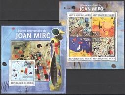 ST2788 2013 NIGER ART PAINTINGS 120TH ANNIVERSARY JOAN MIRO KB+BL MNH - Art