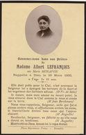 Faire Part Albert Lefrançois Née Marie Monavon  Photographie - Obituary Notices