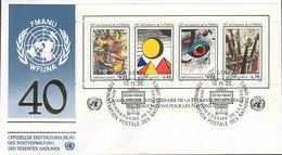 UN Genf Nr.147-150 FDC 40 Jahre Weltverband - Block 4 - FDC