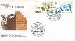 UN Genf Nr.154-155 FDC Internationales Jahr Für Menschenwürdiges Wohnen - FDC