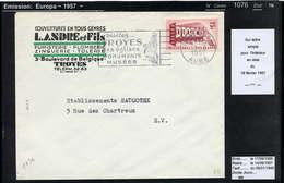 MAURY N° 1076: EUROPA - S/LSI DU 18/3/1957 - Marcofilia (sobres)