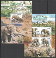 ST2826 2013 NIGER FAUNE NIGER WILD ANIMALS ELEPHANTS KB+BL MNH - Elephants