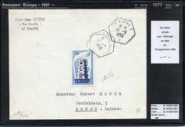 MAURY N° 1077: EUROPA - S/LETTRE PR SUISSE DU 19/9/1956 - Marcophilie (Lettres)