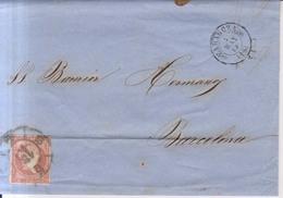 Año 1856 Edifil 48 Isabel II Carta Matasellos Rueda Carreta 15 Zaragoza Membrete De Joaquin Juncosa Zaragoza - 1850-68 Reino: Isabel II