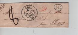 18PR/ Précurseur LAC C.Lille 1844 SR & 1.R Encadrés Port 8 > Château De Strée C.d'arrivée Huy + Marque D'entrée - 1801-1848: Precursors XIX