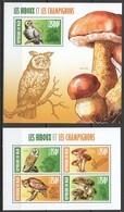ST2860 2013 NIGER FAUNA BIRDS OWLS MUSHROOMS LES HIBOUX ET LES CHAMPIGNONS 1KB+1BL MNH - Uilen