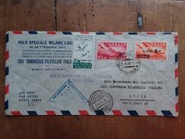 REPUBBLICA 1947 - Aerogramma Ufficiale Volo Speciale Milano-Lucca E Ritorno + Erinnofilo + Spese Postali - 6. 1946-.. República