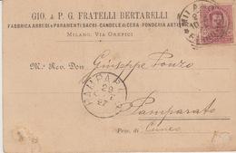 CARTOLINA  PUBBLICITARIA - FABBRICA ARREDI E PARAMENTI SACRI - CANDELE DI CERA - FONDERIA ARTISTICA - VIAGGIATA NEL 1897 - Zonder Classificatie