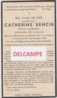 DOODSPRENTJE SENCIE CATHERINE WEDUWE DE JONGHE BRUSSEL NIEUWKERKEN-WAAS 1857 - 1944    Bewerkt Tegen Kopieren - Devotion Images