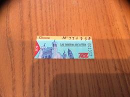 """Ticket De Transport (Bus, Métro, Tramway) TCL Abonnement """"DEC 98 - CIGOGNE - Les Lumières De La Ville"""" LYON (69) - Autobus"""