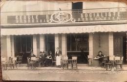 """Carte Photo, Devanture Animée """"Café De La Colonne"""",Cercle Radical Socialiste, Fédé. Départementale (Hautes Pyrénées, 65) - Cafés"""