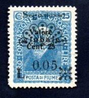 Fiume - Segnatasse - 1921 - Nuovo 0,05 - Su 25 Cent. - Croazia
