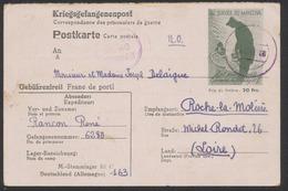"""Guerre 40-45 - CP """"Kriegsgefangenenpost"""" Illustré Au Service Du Maréchal 20F Expédié Du Stalag III C Vers Roche-la-moliè - Poststempel (Briefe)"""
