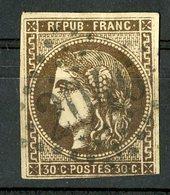 N°47 Cote 350 €. 30ct Brun Très Foncé, Belle Nuance. émission De Bordeaux - 1870 Bordeaux Printing