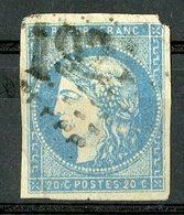 N°44B Cote 900 €. 20ct Bleu Type 1 Report 2. émission De Bordeaux. Lire Description - 1870 Emission De Bordeaux