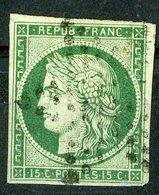 N°2b Cote 1250 €. 15ct Vert Foncé. Oblitération étoile De Paris. Lire Description - 1849-1850 Cérès