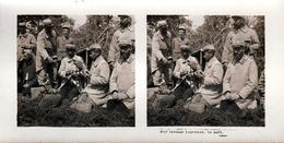 Photo Stéréoscopique Originale Guerre 1914-18 - 2813 Bivouac Improvisé. Le Café Des Poilus - Mise En Scène - Photos Stéréoscopiques