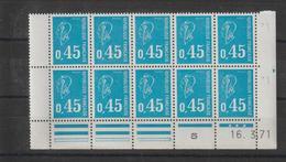 France 3 Blocs De 10 Avec Coin Daté 1971 1972 Et 1974 Bécquet 1663 - Dated Corners