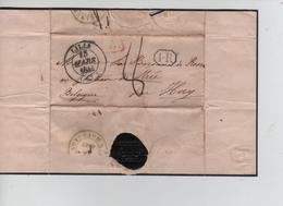 21PR/ Précurseur LSC C.Lille 1844 SR & 1.R Encadrés Port 8 > Strée C.d'arrivée Huy + Marque D'entrée France Par Mouscron - 1801-1848: Precursores XIX