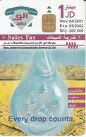 TARJETA DE JORDANIA DE 1JD DE EVRERY DROP COUNTS FECHA 04/2001 Y TIRADA 300000 - Jordanie
