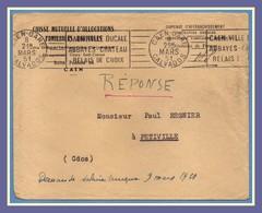 Flamme Continue Caen Gare Ville Ducale ...1951 / LF MSA - Railway Post