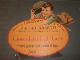 CARTONCINO PUBBLICITARIO FABBRICA DI CIOCCOLATO E CACAO PIETRO RASETTI GENOVA - Cioccolato