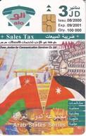 TARJETA DE JORDANIA DE 3JD DE ARAB STATES SERIES BANDERA OMAN Y JORDANIA FECHA 08/2000 Y TIRADA 100000 - Jordania
