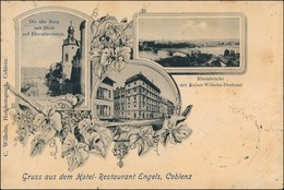 Ansichtskarte Koblenz 3 Bild Hotel Restaurantr Engels 1903 - Koblenz