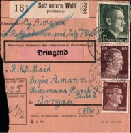! 1943 Paketkarte Deutsches Reich, Sulz Unterm Wald, Unterelsass, Alsace, Soultz-sous-Forets, Torgau - Alsace-Lorraine