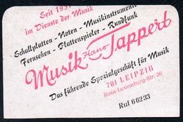 D0427 - Leipzig Musik Tappert - Visitenkarte Kalender Werbung Reklame DDR - Visitenkarten