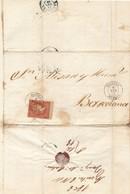 Año 1856 Edifil 48 4c Isabel II Carta Matasellos  Aguilas Murcia Tipo II - Briefe U. Dokumente