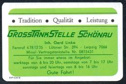 D0407 - Tankstelle Leipzig Gerd Linka - Visitenkarte Kalender Werbung Reklame DDR - Visitenkarten