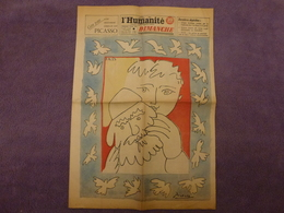 VIEUX JOURNAL L'HUMANITE DIMANCHE DU 27 DECEMBRE 1953 PAGE ENTIEREMENTCOMPOSEE PAR PABLO PICASSO - Kranten
