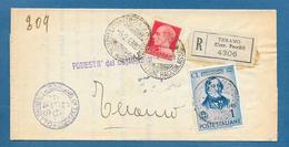 1943 RACCOMANDATA L.1,20 TARIFFA MANOSCRITTI TERAMO - Marcofilie