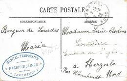 65-cachet Hôpital Temp.Passionistines (N°135 Bis) à Lourdes Sur CP  En 1920- Cachet Rare - Marcofilie (Brieven)