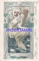 126321 ART ARTE SIGNED WOMAN YEAR 1905 BREAK CIRCULATED TO ITALY POSTAL POSTCARD - Ilustradores & Fotógrafos