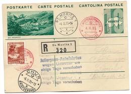 45 - 46 - Entier Postal Avec Illuistration St Moritz - Oblit Spéciale Julierpass Chur-St Moritz 1935 - Interi Postali
