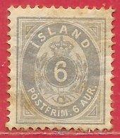 Islande N°7B 6a Gris (dentelé 12,5) 1876 * - Neufs