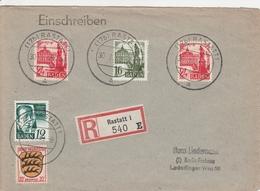 Allemagne Zone Française Lettre Recommandée Rastatt 1948 - Franse Zone