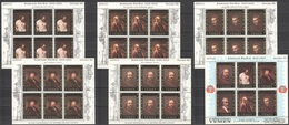UU309 1967 YEMEN GOLD ART PAINTINGS REMBRANDT 6SH MNH - Rembrandt