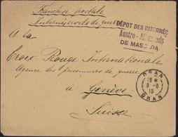 Guerre 14 Franchise Postale Internés Civils De Guerre Cachet Dépôt Internés Austro Allemands De Mascara CAD Oran 9 6 15 - WW I
