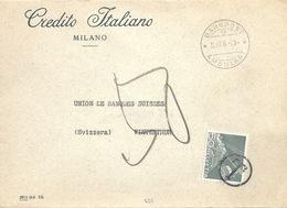 """Taxierter Brief  """"Credito Italiano, Milano"""" - Winterthur  (Bahnstempel)        1956 - Schweiz"""