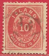 Islande N°8A 10a Rouge Carminé (dentelé 14x13,5) 1876 O - Oblitérés