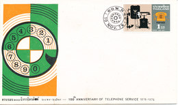 Thailand FDC 10-11-1976 100th Anniversary Of Telephone Service With Cachet - Thaïlande