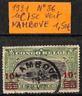 [835971]TB//O/Used-Congo Belge 1921 - N° 86, KAMBOVE, 10c/5c Vert - Belgisch-Kongo