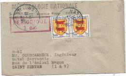 BLASON 1FRX2 PETITE BANDE COMPLETE PARIS 21.12.1951  AU TARIF - 1941-66 Armoiries Et Blasons
