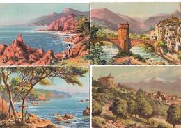 Illustrateur  M VIVIER CPSM LOT DE 4 CARTES  SOSPEL / FONT ROMEU / LE TRAYAS / L ESTEREL  Ecrites  N067 - Künstlerkarten