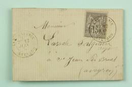 LAC 1878 La Cavalerie, Aveyron --> St Jean De Bruel, Affr. 15c Sage - Storia Postale