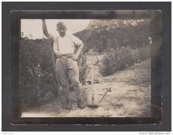 "PHOTO ORIGINALE MILITAIRE RAMBOUILLET MAGGIO 1932 ALFREDO "" B ""- JARDIN ARROSOIR PELLE -  - 2 Scans - - Guerra, Militares"
